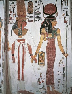 Egypt, Ancient Thebes, Luxor, Valley of Queens, Tomb of Nefertari, Detail of frescoes