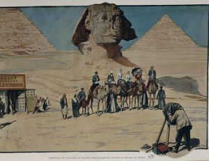 Egypt, Giza, Tourists in front of Sphinx, engraving, 1901