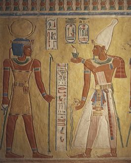 Egypt, Luxor Governorate, Valley of Queens, Tomb of Khaemweset, detail of painted relief