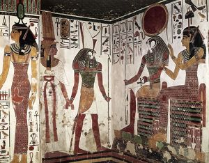 Egypt, Luxor, Valley of the Queens, Nefertari's Tomb, Details form frescos in