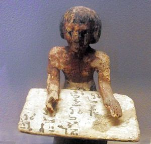 Egyptian tomb figure depicting a scribe