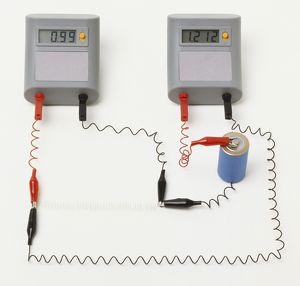 Electrical circuit with ammeter and voltmeter illutrating Ohm's Law, a thin wire