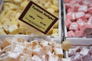 England, London, Borough Market, boxes of Turkish delight including lemon flavour