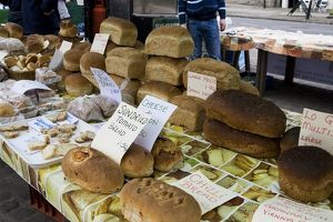 England, Peak District, Ashbourne, loaves on market stall in town