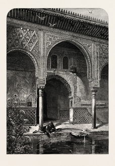 ENTRANCE TO THE HALL OF AMBASSADORS, Ganada, Spain, 19th century engraving