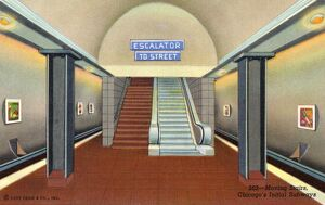 Escalator in Chicago's Initial Subways. ca. 1941, Chicago, Illinois, USA, 202--Moving Stairs