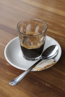 Espresso coffee with spoon