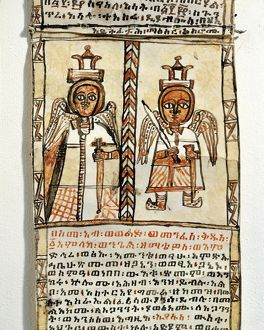 Ethiopia, two angels holding swords, from Arab manuscript