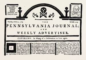 FACSIMILE OF THE PENNSYLVANIA JOURNAL ON THE STAMP ACT. American Historical