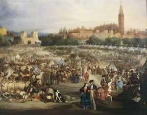 The Fair of Seville, The Cathedral and Giralda in background, by Andre Cortes y Aguilar
