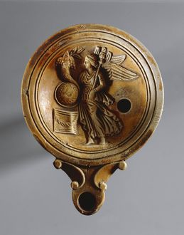 Fictile oil lamp with relief depicting goddess Fortuna. From Tomb Rebato 41, nearby Este