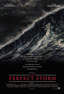 history/film poster showing rising waves perfect storm