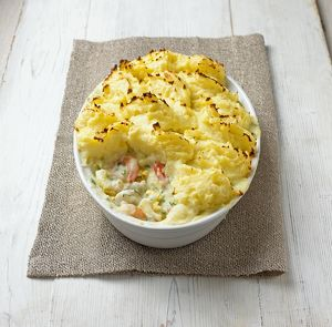 Fisherman's pie in souffle dish, close-up