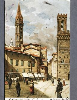 Florence, San Firenze Piazza, 1904, illustrated postcard,