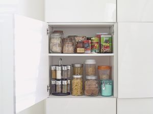 Food in kitchen cupboard