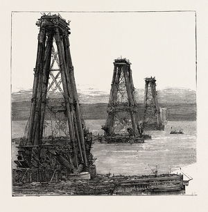 THE FORTH BRIDGE, THE CANTILEVER TOWERS IN COURSE OF CONSTRUCTION, engraving 1890, UK, U