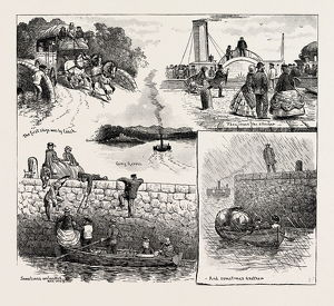 BEFORE THE FORTH BRIDGE EXISTED, CROSSING THE FORTH FIVE AND TWENTY YEARS AGO, engraving