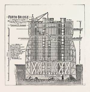 THE FORTH BRIDGE, SECTION SHOWING THE INTERIOR OF A CAISSON, engraving 1890, UK, U