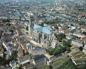 France, Aerial view of Chartres with Cathedral of Notre-Dame