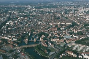 France, Alsace, Aerial view of Strasbourg