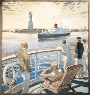 France, Amboise, Maiden voyage of the steam-ship Normandie, The entrance to New York harbor