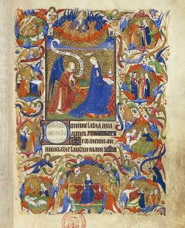France, The annunciation, miniature from the manuscript Breviary 469 (folio 13), 1410-15