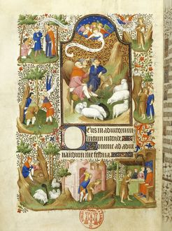 France, The annunciation to the shepherds, miniature from the manuscript Breviary 469 (folio 56)