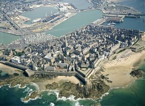 France, Brittany, Aerial view of Saint Malo