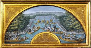 France, Courtly amusements on the Grand Canal of Versailles, design for fan, watercolor