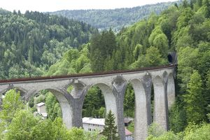 France, Franche-Comte, Ligne des Hirondelles, railway viaduct in the French Jura