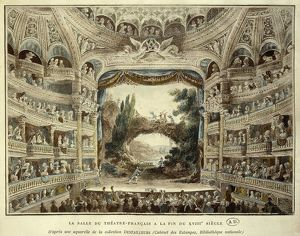 France, The hall of the Theatre Francais in Paris by Meunier, engraving after a watercolor