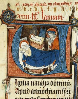 France, Nativity, miniature from a Latin manuscript (folio 23) of the Abbey of Notre-Dame