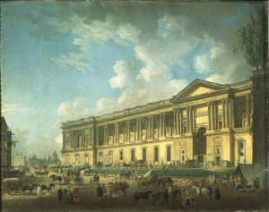 France, Paris, Clearing of Louvre colonnade again by Pierre Antoine Demachy, about 1773