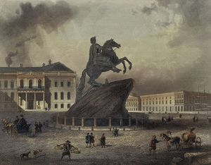 France, Paris, Monument to Peter the Great (1672-1725) in Saint Petersburg, engraving