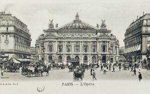 France, Paris, Place de l'Opera and Garnier Opera at beginning of 1900s, postcard.