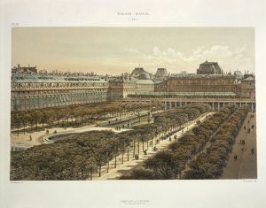 France, Paris, view of the Royal Palace in 1880, engraving