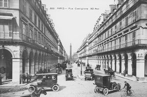 France, Paris, view of Rue de Castiglione at beginning of 20th century with Obelisk