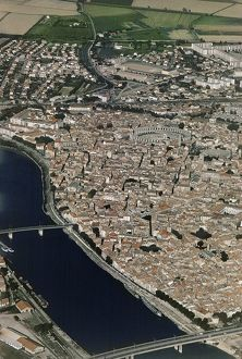 France, Provence-Alpes-Cote d'Azur, Aerial view of Arles and Rhone river