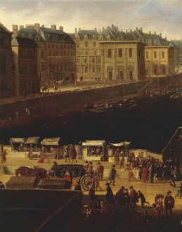 France, view of Paris from Pont Neuf, left bank and stalls, 1660