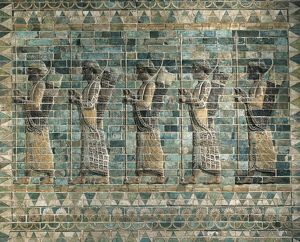 Frieze of Archers of polychrome glazed brick, from Palace of Darius I, from Shush (ancient Susa), Iran