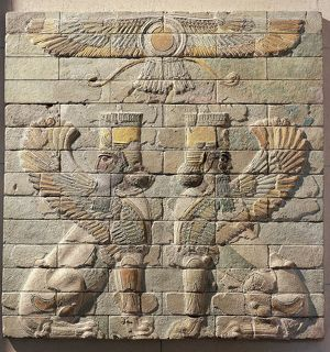 Frieze depicting pair of winged lions with human heads facing each other, polychrome glazed brick, from Palace of Darius I at Susa, Iran