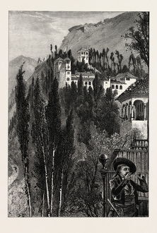 THE GENERALIFFE, FROM THE WALLS OF THE ALHAMBRA, Ganada, Spain, 19th century engraving