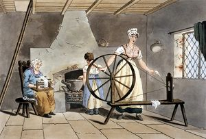 history/generations women cottager spinning wool using