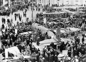 German planes brought down by the soviets are exhibited on a moscow square.