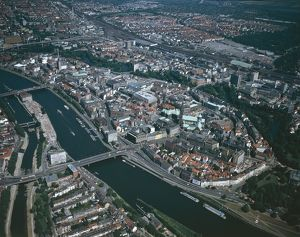 Germany, Aerial view of Bremen and Weser river