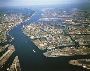 Germany, Aerial view of port of Hamburg on river Elbe