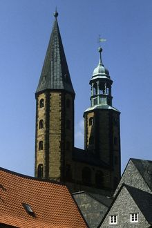 Germany, Lower Saxony, Goslar, Bell towers of Marktkirche (Market Church of Saint Cosmas