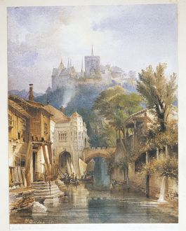 Germany, view of city of Meissen, by M. Del Dan, Watercolor