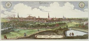 Germany, view of Luneburg, coloured engraving