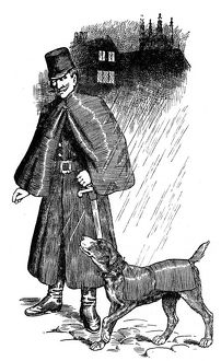 Ghent police dog, kitted out in its own mackintosh coat for wet weather, with its handler